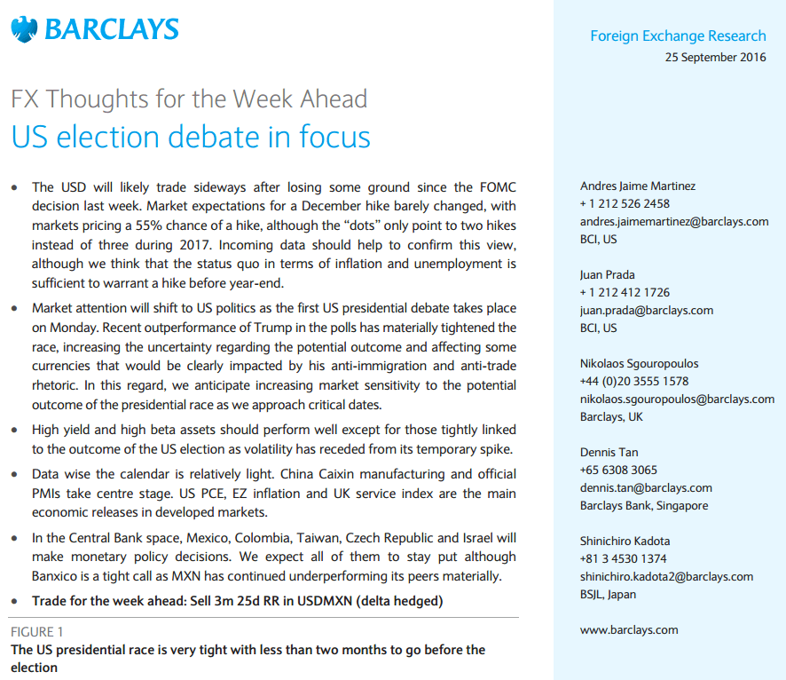 Trade of the Week from Barclays