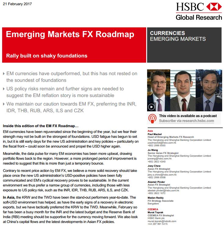 HSBC Emerging Markets FX Roadmap