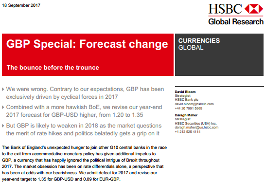 HSBC GBP Forecast Update