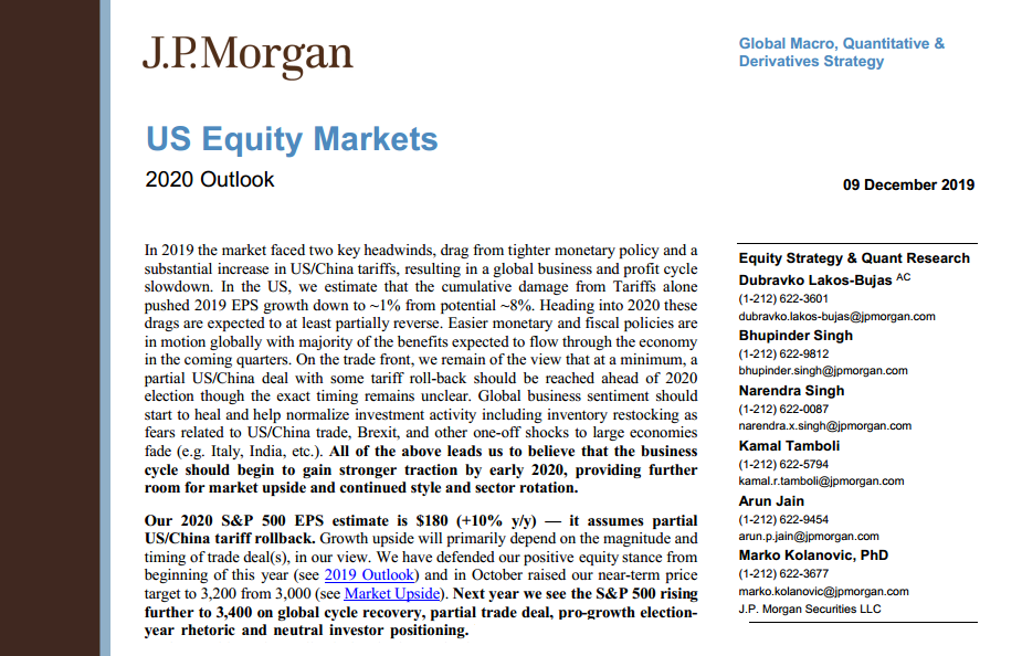 US Equity Market Outlook 2020 from J.P.Morgan
